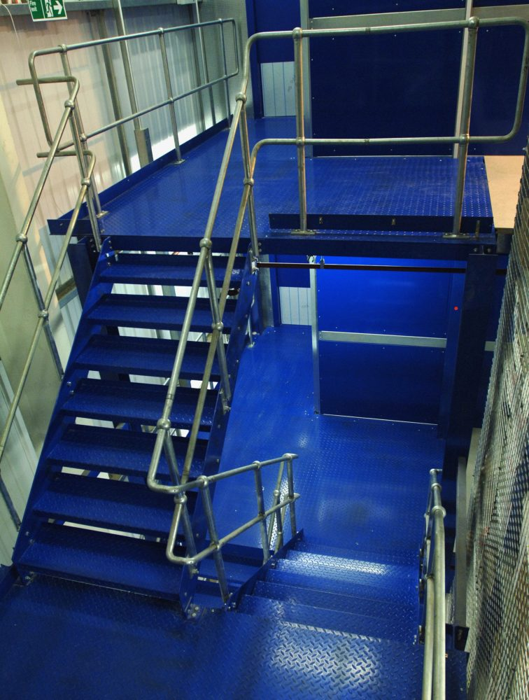 Mezzanine Floor over racking with multi-stair access